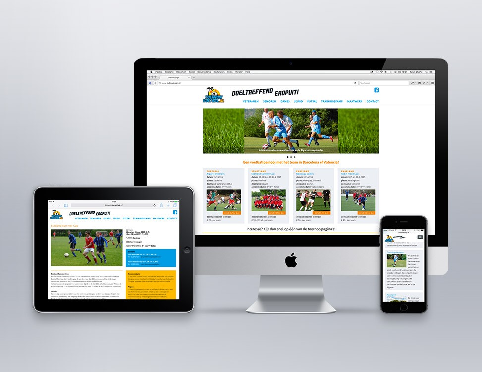 IndionDesign website ToernooiVoetbal